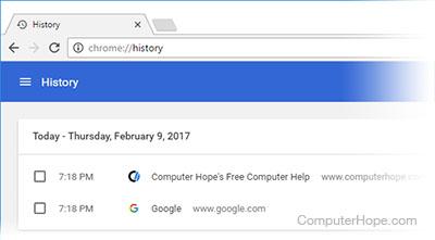 afficher l'historique de google chrome